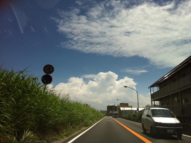 多摩川沿いは上天気